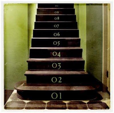 מדרגות עץ ממוספרות