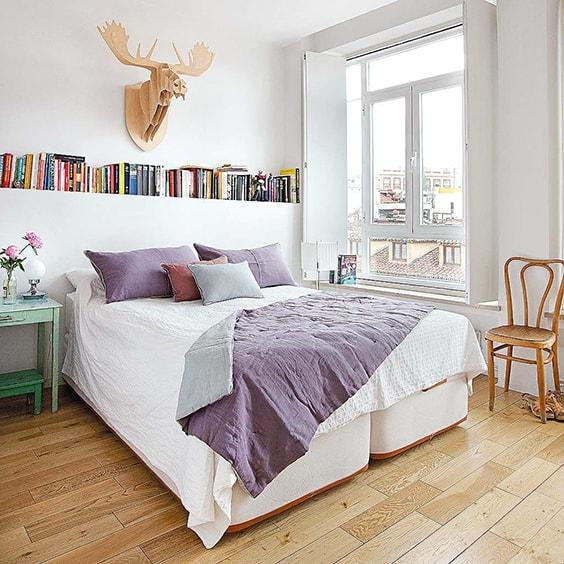 ספרים קיר גבס בחדר השינה